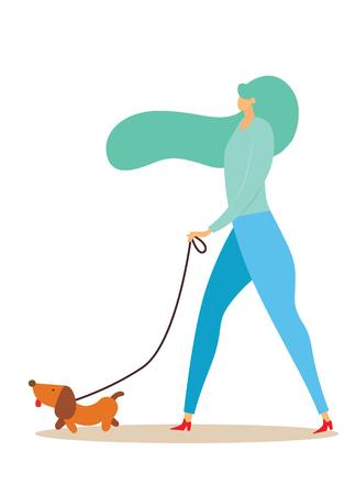 강아지와 함께 산책 하는 소녀. 평면 스타일의 벡터 일러스트 레이 션