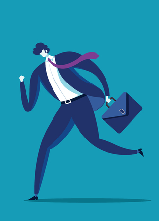 A business man runs to success. illustration of a businessman running with briefcase, business, energetic, dynamic concept Stock Vector - 106422571