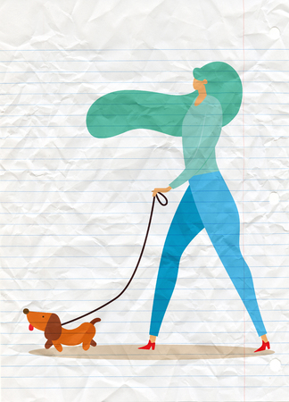 girl walking with dog. Vector illustration in a flat style
