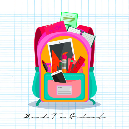 Open vector bag with school stationery and suplies. Back to school illustration Standard-Bild - 111930118