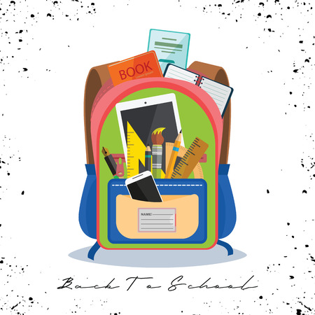 Open vector bag with school stationery and suplies. Back to school illustration Standard-Bild - 111930122