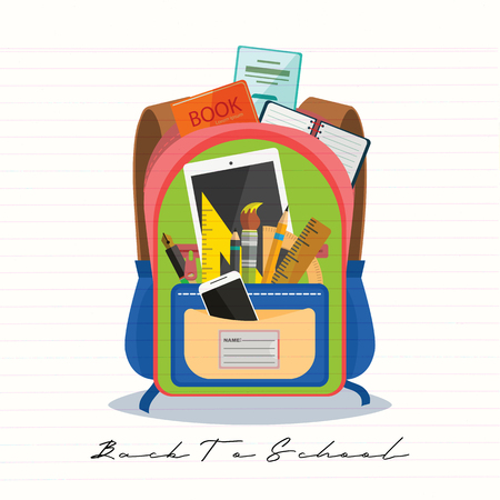 Open vector bag with school stationery and suplies. Back to school illustration Standard-Bild - 111930126