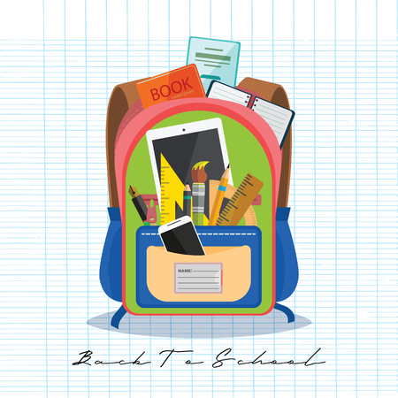 Open vector bag with school stationery and suplies. Back to school illustration Standard-Bild - 111930136