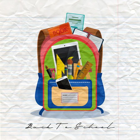 Open vector bag with school stationery and suplies. Back to school illustration Standard-Bild - 111930146