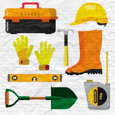 Stock vector illustration set isolated icons building tools repair, construction buildings, hammer, ruler, helmet, boots,Spade, Shovel,Measuring Tape,level, tool box, kit flat style