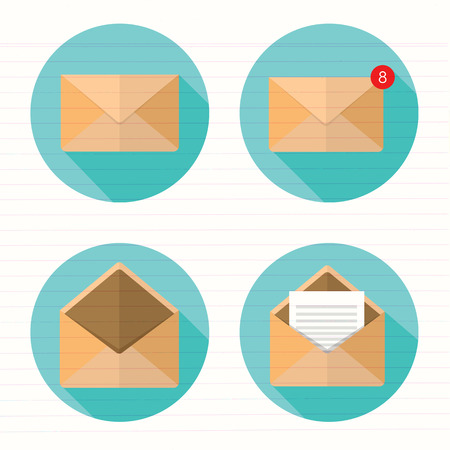Set of closed and open envelopes. Illustration