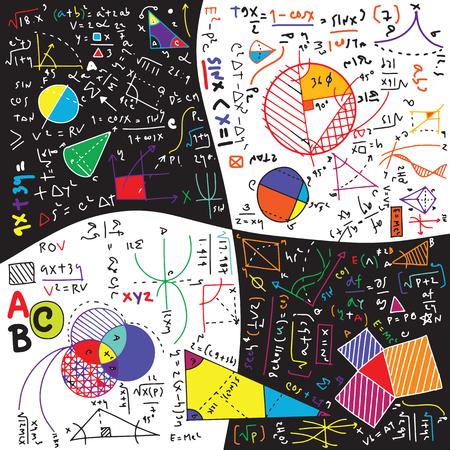 Fórmulas y fenómenos físicos. ilustración dibujada a mano. tablero de ciencia con matemáticas. educación física en la escuela Ilustración de vector