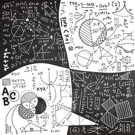 Physical formulas and phenomenon. hand-drawn illustration. science board with math. physics education at school Archivio Fotografico - 111824011