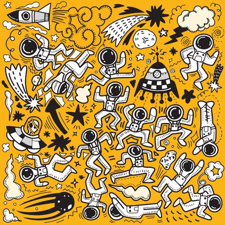 Grote reeks van leuke grappige astronauten in de ruimte, met planeten, sterren, geïsoleerde objecten op de achtergrond. Vector illustratie. Scandinavisch plat ontwerp. Concept voor kinderen afdrukken.