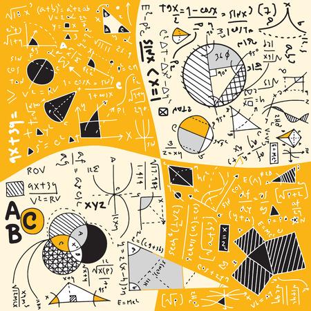 Physikalische Formeln und Phänomene. handgezeichnete Illustration. Science Board mit Mathematik. Physikunterricht in der Schule