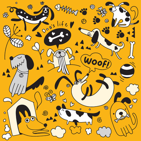 Vector illustration of Doodle cute Dogs background ,Hand drawing Doodle Illustration