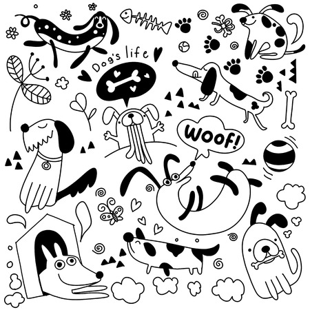 Vector illustration of Doodle cute Dogs background ,Hand drawing Doodle Ilustração