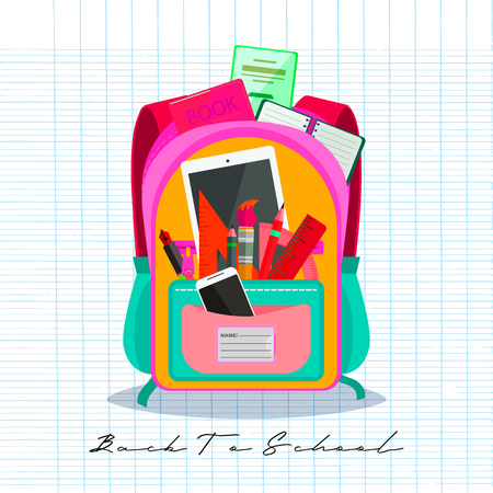 Open vector bag with school stationery and suplies. Back to school illustration Standard-Bild - 111737610