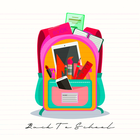 Open vector bag with school stationery and suplies. Back to school illustration Standard-Bild - 111737614