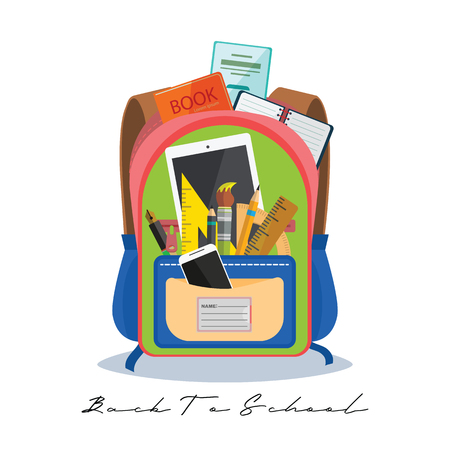 Open vector bag with school stationery and suplies. Back to school illustration Standard-Bild - 111737618