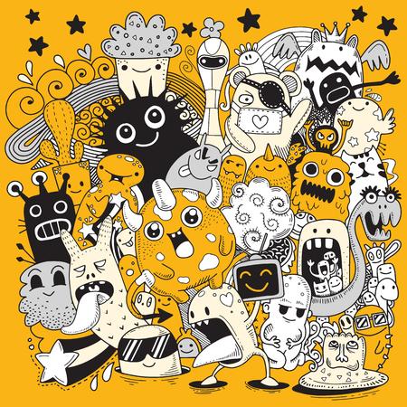 Vector illustratie van Doodle schattig Monster achtergrond, Hand tekenen Doodle