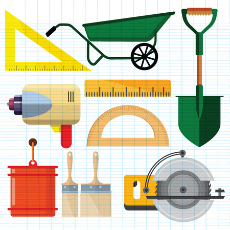 Stock vector illustration set isolated icons building tools repair, construction buildings, ruler, Spade, Shovel,Measuring level, Power Saw,Paint brush,paint bucket,eletric drill, kit flat style
