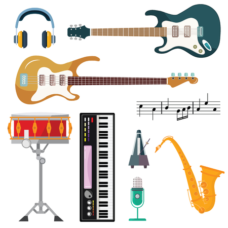Guitar, synthesizer piano and drum station vector icons. String, wind and key musical instruments of isolated harp, sax or saxophone, for orchestra or jazz music Stockfoto - 111573267