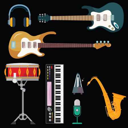 Guitar, synthesizer piano and drum station vector icons. String, wind and key musical instruments of isolated harp, sax or saxophone, for orchestra or jazz music