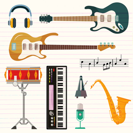 Guitar, synthesizer piano and drum station vector icons. String, wind and key musical instruments of isolated harp, sax or saxophone, for orchestra or jazz music Foto de archivo - 111573286