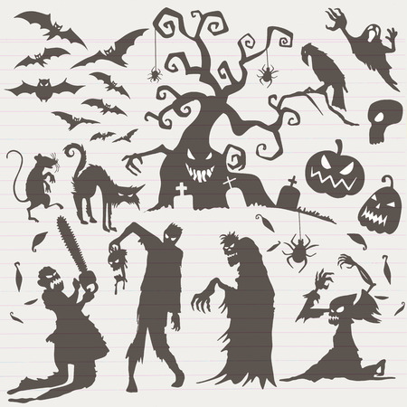 Happy Halloween Magic collection, witch, wizard attributes, creepy and spooky elements for halloween decorations, doodle silhouettes, sketch, icon, sticker. Hand drawn vector illustration. Stock Illustratie