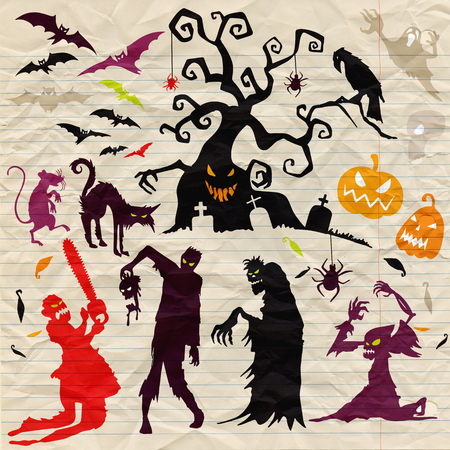 Happy Halloween Magic collection, witch, wizard attributes, creepy and spooky elements for halloween decorations, doodle silhouettes, sketch, icon, sticker. Hand drawn vector illustration. Çizim