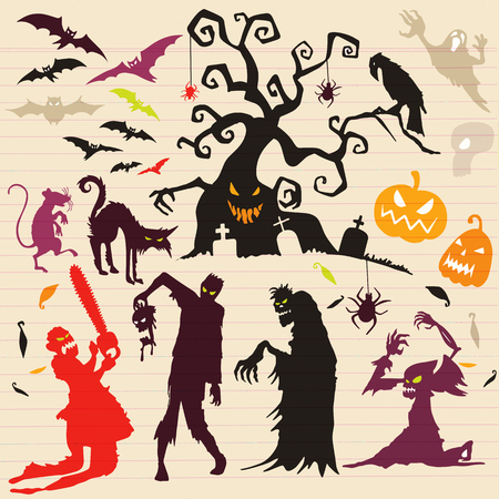 Happy Halloween Magic collection, witch, wizard attributes, creepy and spooky elements for halloween decorations, doodle silhouettes, sketch, icon, sticker. Hand drawn vector illustration. Vettoriali