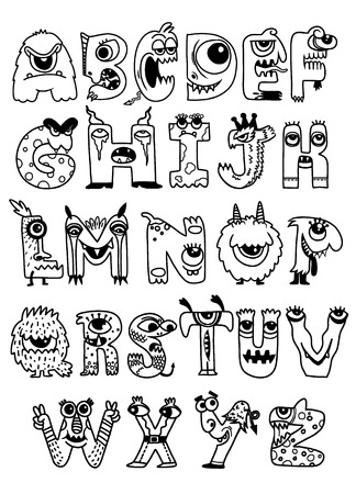 Halloween alphabet with funny monster characters,Monster Cartoon font Фото со стока - 110455137