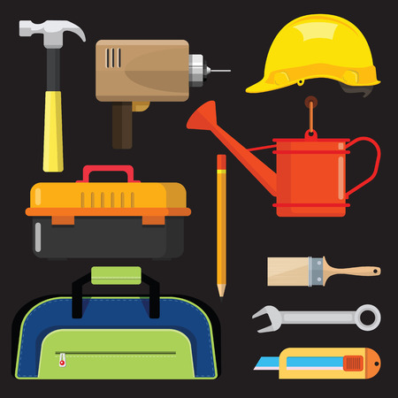 Stock vector illustration set isolated icons building tools repair, construction buildings, Paint brush, bucket, electric drill, hammer, helmet,  tool box,  pencil, wrench, cutter, Shower water , kit