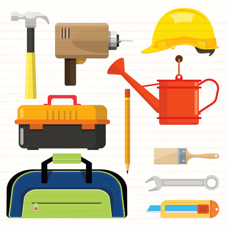 Stock vector illustration set isolated icons building tools repair, construction buildings, Paint brush, bucket, electric drill, hammer, helmet,  tool box,  pencil, wrench, cutter, Shower water , kit flat style