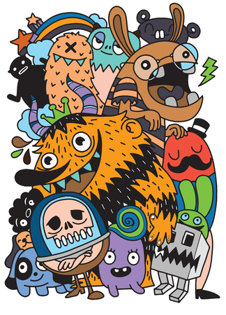 Cute Scary Halloween Monsters and Candy, conjunto de divertidos monstruos, extraterrestres o animales de fantasía para niños, libros para colorear o camisetas. Dibujado a mano ilustración de vector de dibujos animados de arte lineal