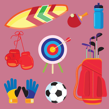 Flat design sport concept. Sports equipment background.Flat Objects Set, Icons, Recreation and Leisure Illustration