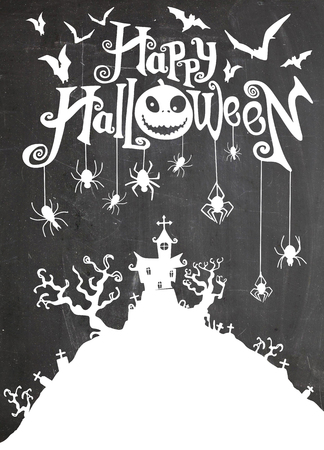 Halloween night background with pumpkin, haunted house . Flyer or invitation template for Halloween party. Vector illustration.
