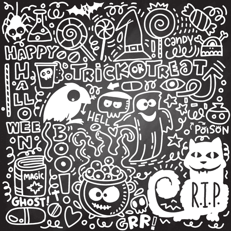 Sketchy vector hand drawn Doodle cartoon set of objects and symbols on the Halloween theme Stock Illustratie