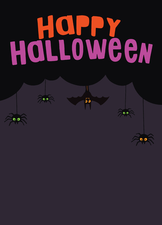 Happy Halloween Text Banner, Vector,Happy Halloween vector lettering. Holiday calligraphy with spider and web for banner, poster, greeting card, party invitation. Isolated illustration. Ilustração