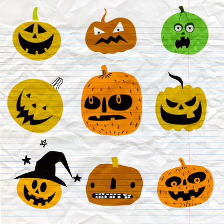 Cute halloween pumpkins. Isolated on background. Flat style vector illustration.