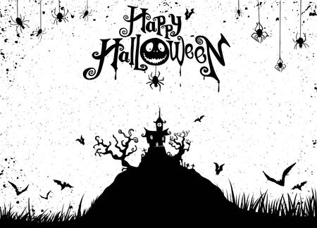 Fond de nuit d'Halloween avec citrouille, maison hantée. Flyer ou modèle d'invitation pour la fête d'Halloween. Illustration vectorielle.