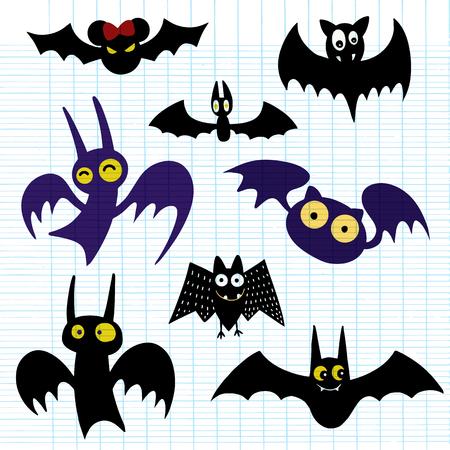 Halloween black bat icon set. Bats Silhouettes. Halloween symbol