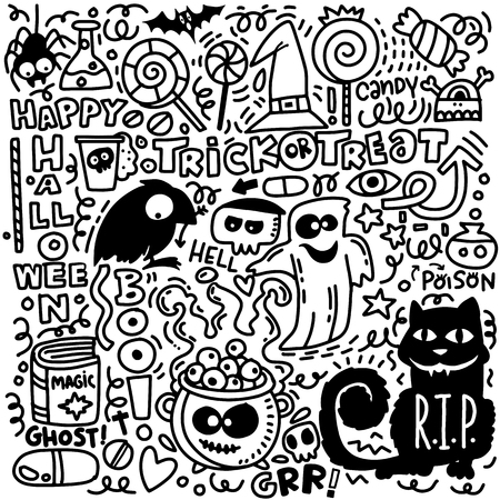 Sketchy vector hand drawn Doodle cartoon set of objects and symbols on the Halloween theme Illustration