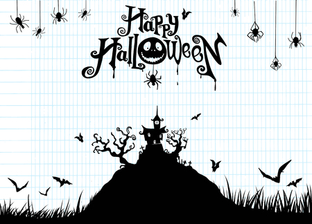 Halloween night background with pumpkin, haunted house. Flyer or invitation template for Halloween party. Vector illustration.