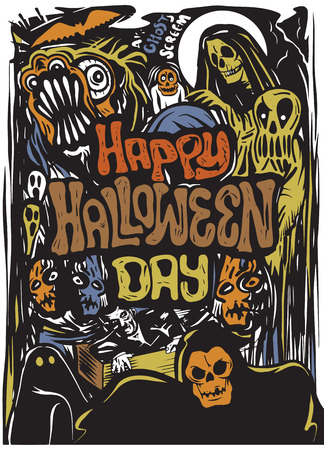 Happy Halloween Day, hand drawn Halloween poster, card, background. Vector illustrations.