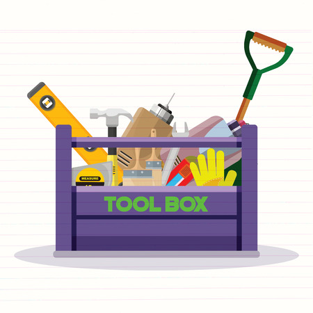 Set isolated icons set building tools repair. Include drill, hammer, screwdriver, saw,grove, cutter, ruler, roller, brush. Kit flat style. Tool box. Vector illustration Foto de archivo - 109996788