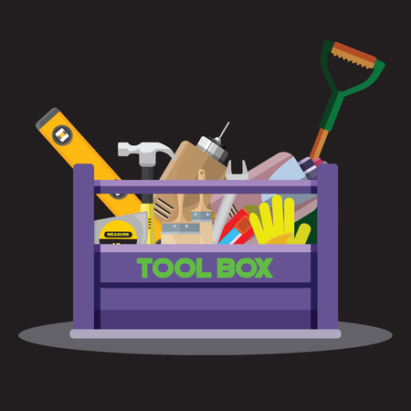 Set isolated icons set building tools repair. Include drill, hammer, screwdriver, saw,grove, cutter, ruler, roller, brush. Kit flat style. Tool box. Vector illustration Ilustrace
