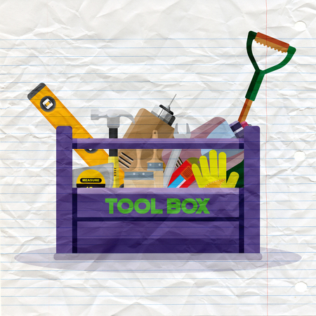 Set isolated icons set building tools repair. Include drill, hammer, screwdriver, saw,grove, cutter, ruler, roller, brush. Kit flat style. Tool box. Vector illustration  イラスト・ベクター素材