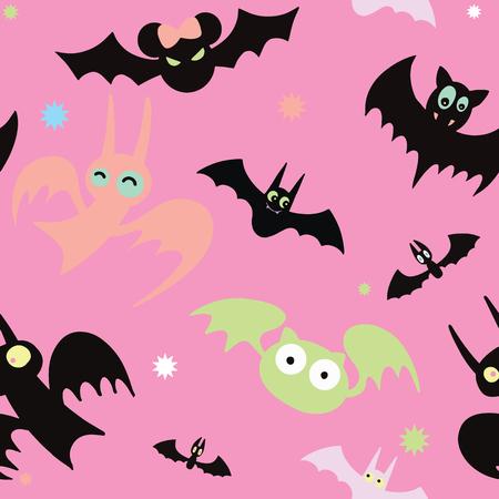 Halloween black bat icon set. Bats Silhouettes. Halloween symbol ,Seamless pattern Illustration