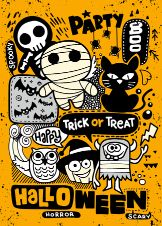 Halloween party invitation card ,Cute pumpkin, ghosts, kids and other holiday symbols in kawaii style. Design elements for children party invitations, scrapbook and etc