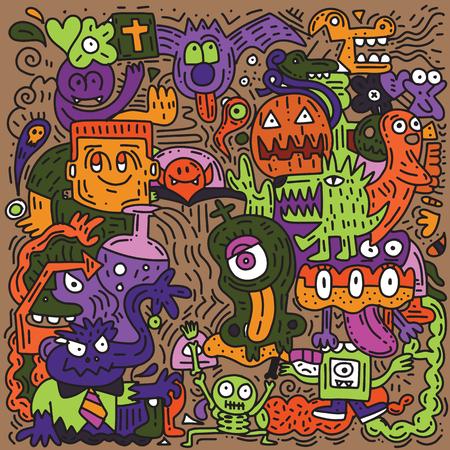 Modello di Halloween con zucca, gatto, pipistrello, fantasma, teschio, ecc., Disegnato a mano