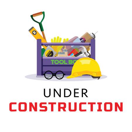 Establecer iconos aislados establecer reparación de herramientas de construcción. Incluye taladro, martillo, destornillador, sierra, arboleda, cortador, regla, rodillo, cepillo. Kit estilo plano. Caja de herramientas. Ilustración vectorial