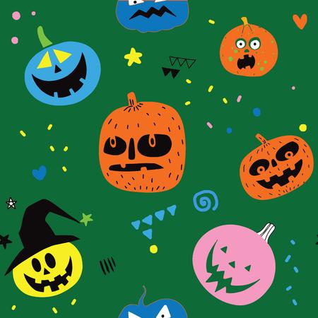 Cute halloween pumpkins. Isolated on background. Flat style vector illustration. ,Seamless pattern