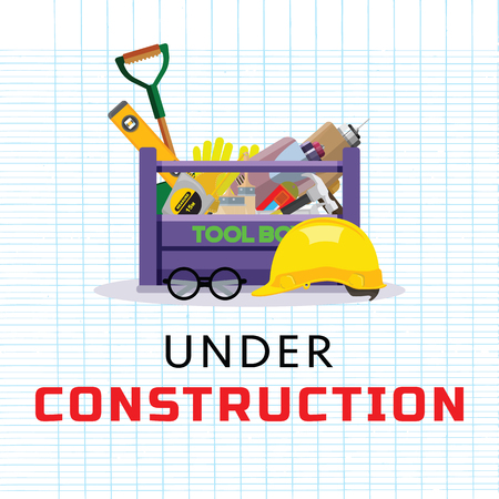 Set isolated icons set building tools repair. Include drill, hammer, screwdriver, saw,grove, cutter, ruler, roller, brush. Kit flat style. Tool box. Vector illustration Иллюстрация